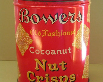 Antique Bower's Cookie Tin Advertising