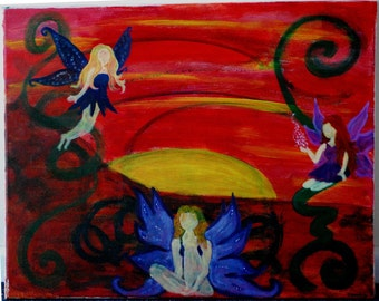 Fairies At Sunset Painting