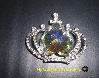 Sliver Rhinestone Crown Charm