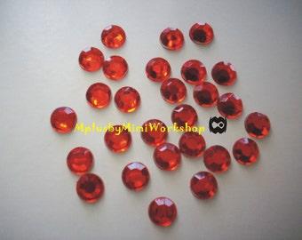 8mm LT.SIAM (Red) Rhinestones 25pc - High quality