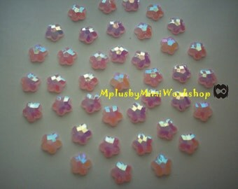 8mm Pink Flower Shape Jelly Flatback Rhinestone 100pc