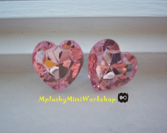 27mm Pink Heart Rhinestone 2pc