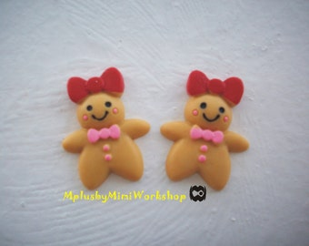 Flatback Redbow Gingerbread man Cabochon 2pc
