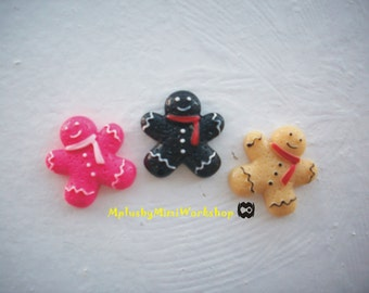 Flatback Gingerbread men Cabochon 3pc