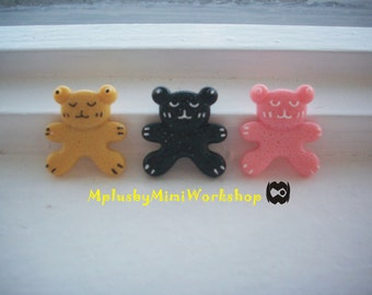 Flatback Gingerbread Bear Cabochon 3pc