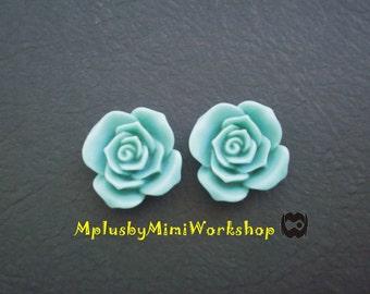 Flatback Turquoise Flower Cabochons 2pc