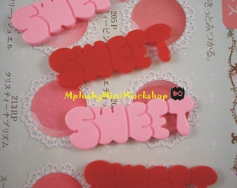 Flatback Mix Color Sweet Letter 2pc 40mmx18mm