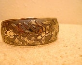 Silver Etched Floral Bracelet.  Chunky Cuff bracelet with flowers and leaves.