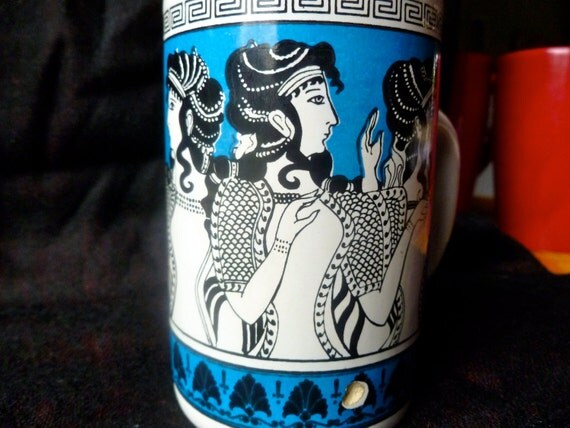 Collectible Greek Coffee Mug. Retro 1960's Bright Azure Blue with Greek Goddesses.