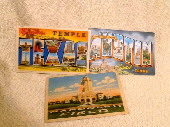 Lot of 3 Vintage Texas Postcards.