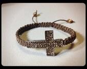 Brown crystal cross bracelet