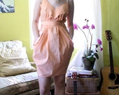 Handmade Peach Easter Dress: Men's Shirt Dress, Adjustable Size.
