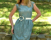 Lace Double Colored Bridesmaids Dress / Vintage / Youthfull - Handmade Tea Dress