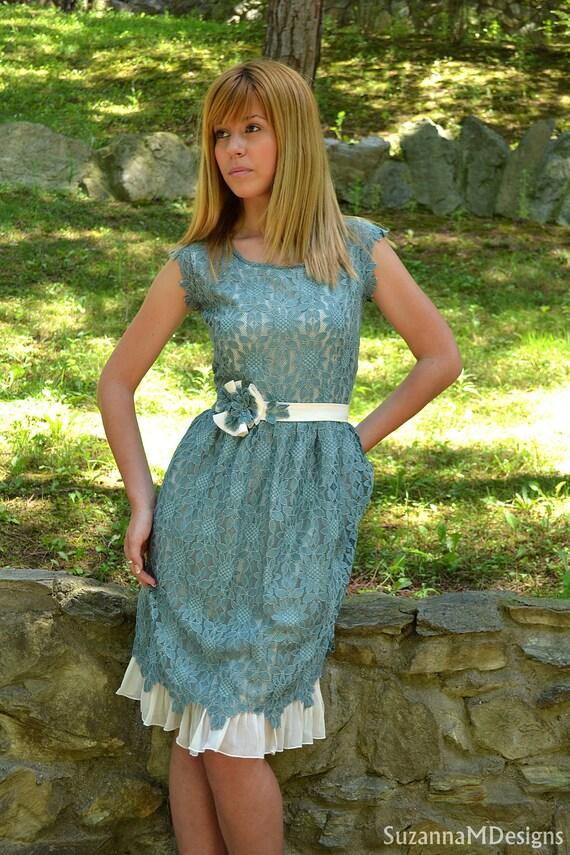 Bridesmaid Dress, SuzannaM, Vintage Dress, Cocktail Dress, Summer Dress, Ivory Dress, Youthful Dress, Lace Tea Dress, Short Tea Dress, Boho