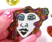Rainbow haired flapper girl shrinky dink brooch handmade