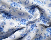 vintage french floral fabric blue roses antique french fabric patchwork fabric quilting fabric blue floral fabric 4