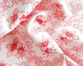 vintage french fabric  for patchwork, quilting or pillowcases, antique, red flowers 84
