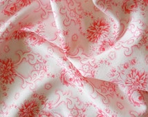 vintage fabric for patchwork quilting or pillowcases antique pink floral french fabric 34