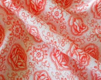 vintage fabric for patchwork, quilting or pillowcases, antique, orange roses, french fabric, 11