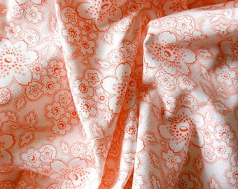 floral fabric, vintage fabric, patchwork, quilting or pillowcases, antique,orange flowers, german fabric, 42