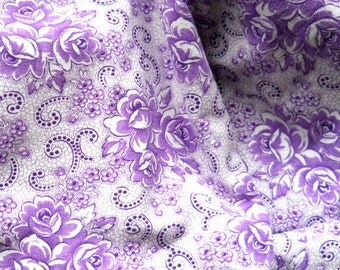 vintage french fabric french vintage fabric antique floral fabric lilac fabric cotton fabric 48