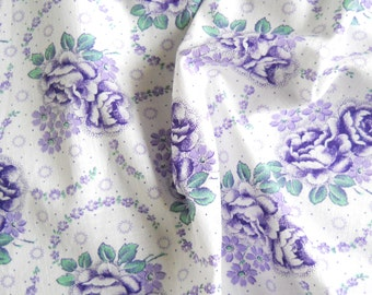 floral vintage fabric  antique fabric purple floral fabric french fabric 79 patchwork quilting