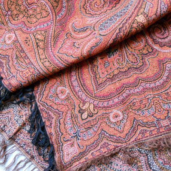 SALE,Vintage Dutch paisley fabric, wall hanging, shawl, antique, throw, tablecloth, home decoration.