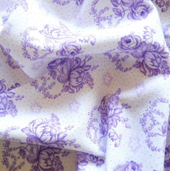 vintage french fabric vintage floral fabric antique lilac roses cotton vintage lilac fabric  25