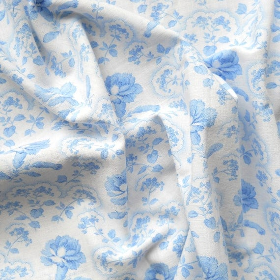 blue floral vintage fabric 57  for patchwork, quilting or pillowcases, antique, blue carnations, cotton