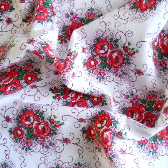vintage fabric for patchwork, quilting or pillowcases, antique, red roses, french fabric, 59