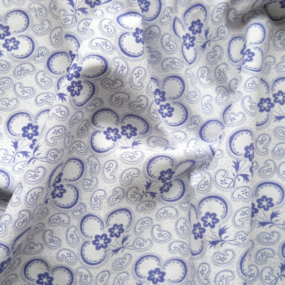 blue floral fabric, vintage fabric, antique, blue flowers, cotton, french fabric, 77