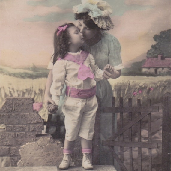 Antique French postcard, photograph, handtinted, mother and daughter