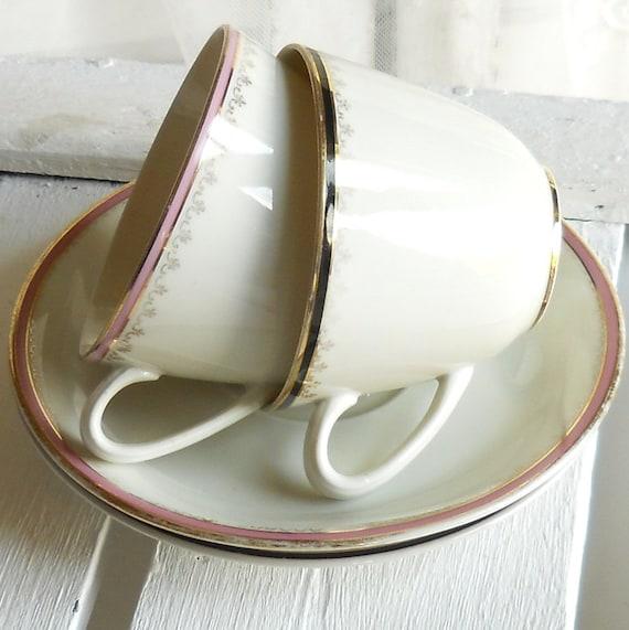 vintage teacups, german porcelain, teacups, set of two, german teacups
