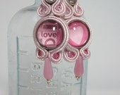 Earrings, soutache, handwoven with Swarovski crystals and glass cabochons, pink - VALENTINO