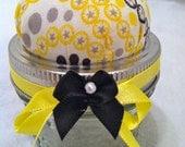 Pin Cushion Jar - Yellow and Black