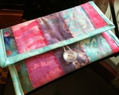 Kindle, Kindle Paperwhite, Kindle Voyage Cover Handmade Quilted Cotton OOAK Purple and Blue Batik