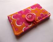 Business Card Holder, Credit Card Holder, Gift Card, Store Card Holder Case - Orange & Pink Flowers