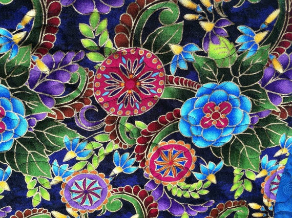 Placemats -Set of Six - Quilted - Multi-Colored Jewel Tone Floral Design
