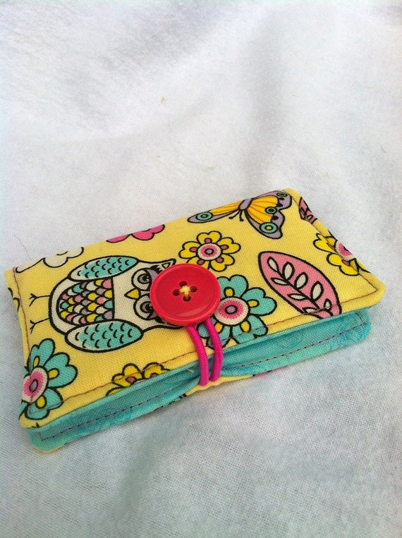 Business Card Holder, Credit Card Holder, Gift Card, Store Card Holder Case - Owls and Butterflies