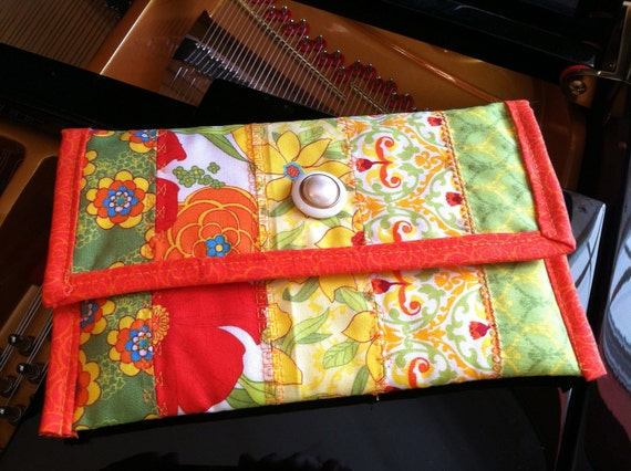 Kindle, Kindle Paperwhite & Kindle Voyage Cover - Handmade Quilted Cotton - Tangerine