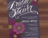 Bridal Shower Invitation - Bold Bloom (aubergine) - Engagement, Wedding, Birthday, Baby (DIY Printable)  purple, plum, violet, amethyst