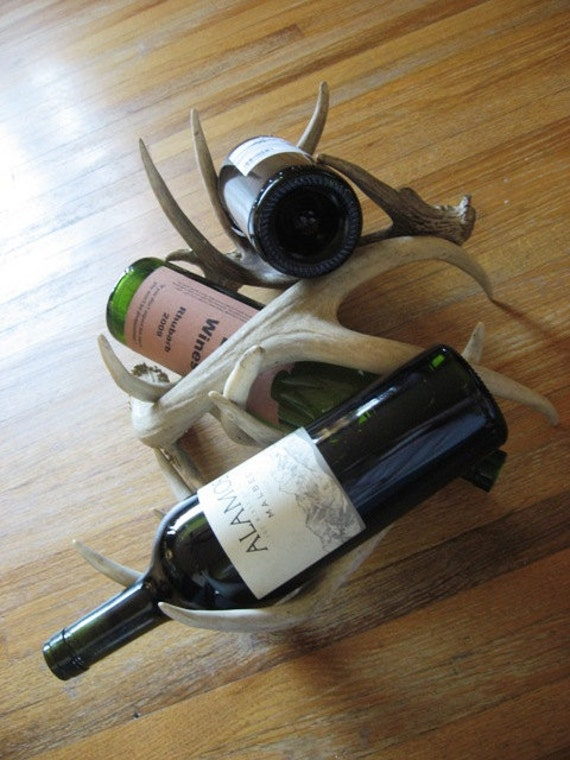 Three Piece Deer Antler Wine Rack