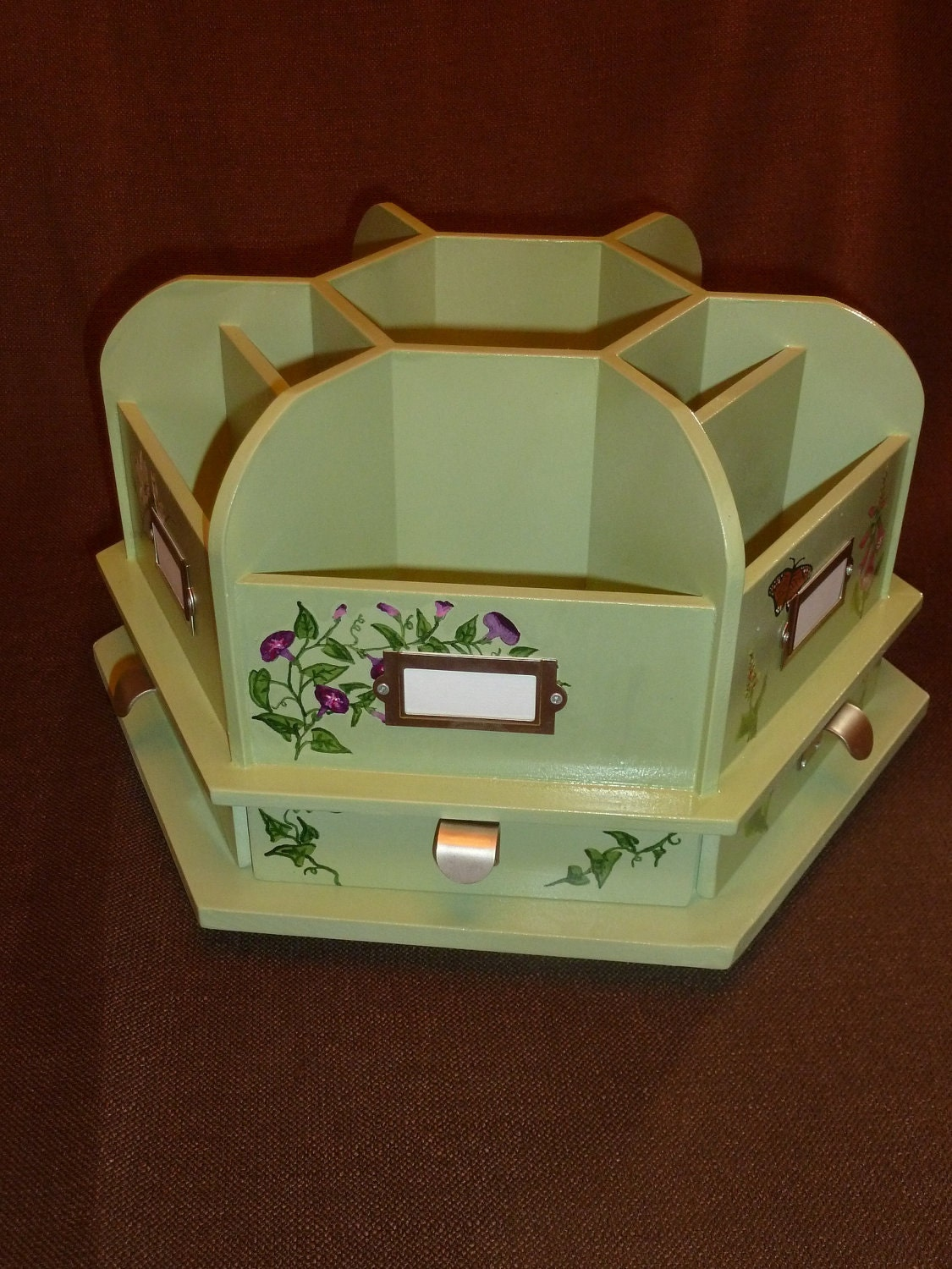 Hand painted sage green rotating wood craft by abweidnerdesign - Spinning desk organizer ...