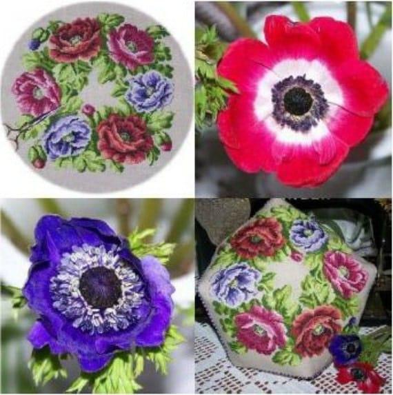 "New, Reflets de Soie French Cross Stitch Pattern ""Anemones"" Lovely Floral Design"