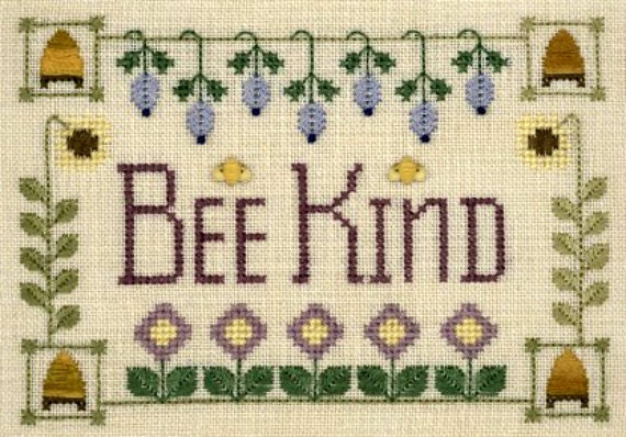 "Elizabeth's Designs ""Bee Kind"" Be Kind Cross Stitch Chart, Flowers & Beehives"