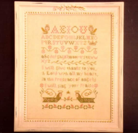"Midsummer Night Designs Cross Stitch Chart ""Angel Sampler"" Sampler, Angels"