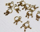 10 pcs Antique Bronze Vintage Style Key Charm Pendant, Skeleton Keys in Antique Finish