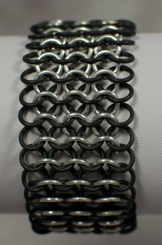 Stretchy Silver and Black Chainmaille Cuff - Ready to Ship