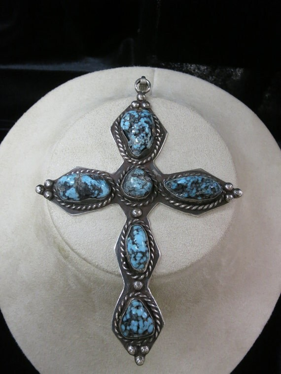 Vintage Big GORGEOUS Sterling Silver Native American Indian Natural Turq Stone Cross