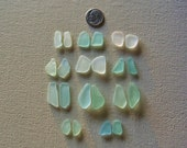 Sea glass or beach glass from Malibu, aqua, seafoam, moonstone earring set assortment.